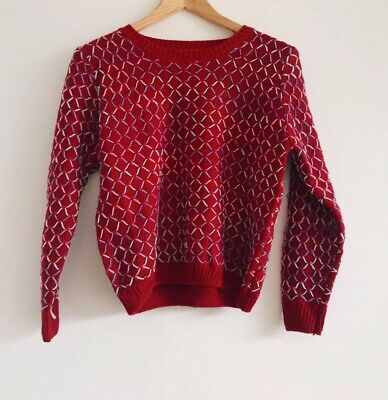 Vintage Red Knit Sweater Jumper Rainbow Stitching