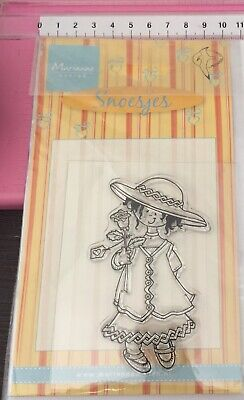 Marianne Design ~ Clear Stamps ~ Snoesjes ~ Girl In Dress Hat With Rose Flower