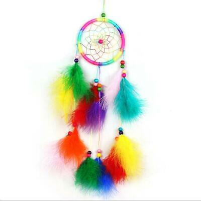 Colorful Circular Dream Catcher With Feather Wall Hanging Decoration Ornament US