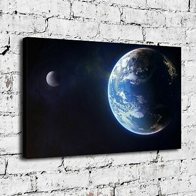 """12/""""x18/""""Earth and moon wallpaper HD Canvas Painting Home Decor Wall art Picture"""