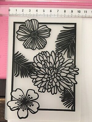 #521 Embossing Folder Sizzix Cuttlebug Compatible ~ Flowers Frame Hibiscus