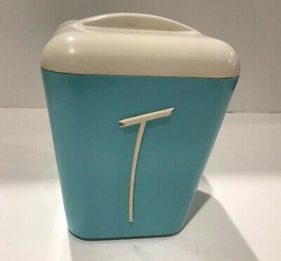 Vintage Gay Ware , Gayware Kitchen Canister : TEA  In Egg Blue  1950s  60s Retro