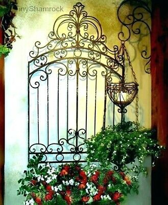 Antique White Vintage Set 2 Scrolling Wood Metal Garden Gate