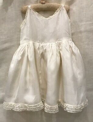 CUTE VINTAGE 1950s LITTLE GIRL DRESS, 3-LAYER FULL SKIRT, CREAM RAYON, LACE