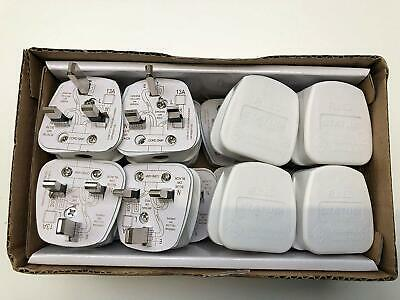 Trade Quality Pack of 16 UK Fused 13 Amp White Mains 3 Pin Plugs