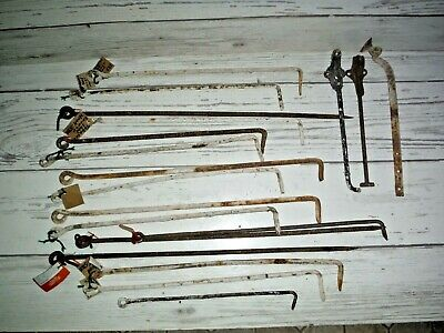 Lot of Vintage Collectible Hand Forged Gate/Barn Door Hook Latch Iron Rods 19""