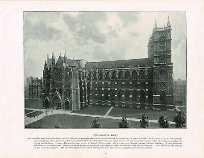 Westminster Abbey London Antique Old Picture Print c1896 PEAW#311