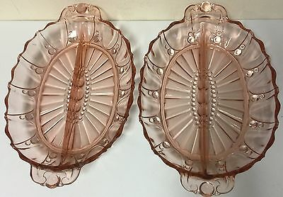 Two Pink Oyster & Pearl divided relish dishes depression glass Anchor Hocking
