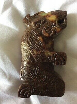 Carved agate stone bear statue- Native/South American ?