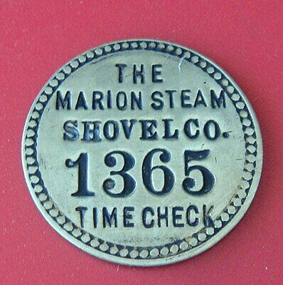 Antique Time Check Brass Tag: MARION STEAM SHOVEL Co (Tool Check Style)