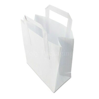 """1000 x (8x4x10"""")Medium WHITE PAPER CARRIER BAGS with HANDLES Sandwich/Lunch/Food"""