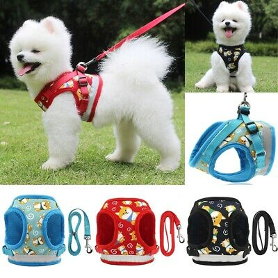 Cute Pet Walking Harness and Lead Adjustable Reflective Strap Vest for Small Dog