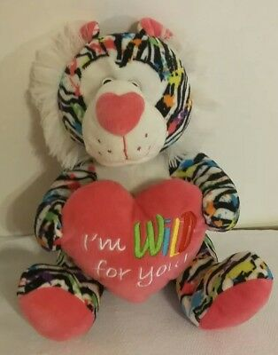 """Neon Stuffed Animal Lion Pink """"I'm Wild for You"""""""