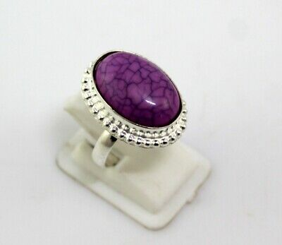 Pink Agate Stone Silver Overlay Handmade Jewelry Ring Size 7.5-G-401-22