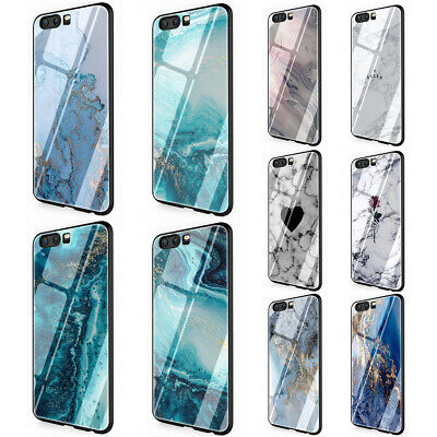 Original Luxury Marble tempered glass TPU case for Huawei Honor Mate P