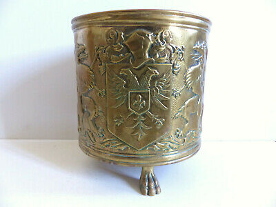 SUPERB & RARE ANTIQUE FRENCH BRASS CACHE POT LIONS COAT of ARMS