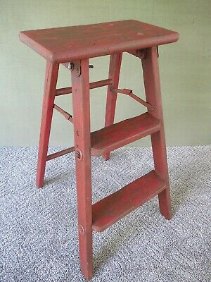 Antique 3-Step Folding Stool Primitive Stepstool Vintage Wood Ladder, Red Paint