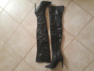 Stivali ecopelle neri a metà coscia, thigh high boots n.37. faux leather