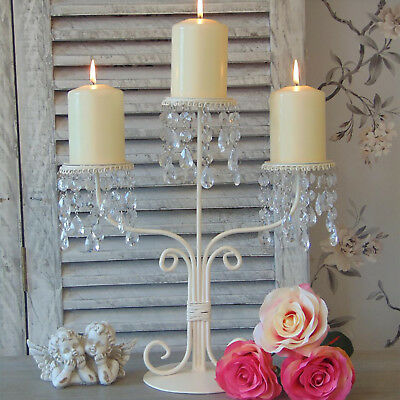 Cream Candelabra Candle Holder Dining Table Wedding Shabby Vintage Chic Home