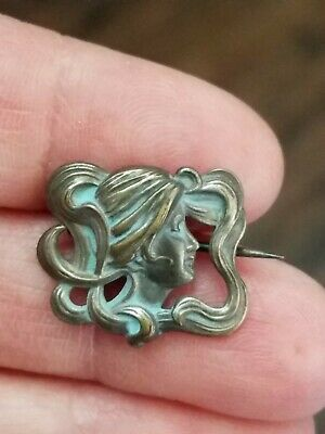 Antique Art Nouveau Sterling Silver Repose Lady Brooch