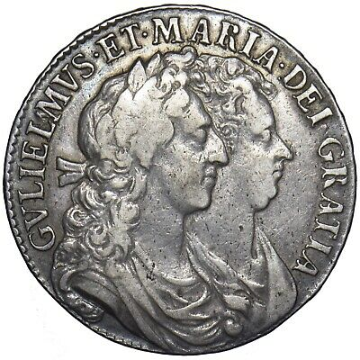 1689 Halfcrown (L Over M) - William & Mary British Silver Coin - Nice