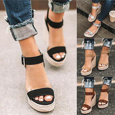 New Women Platform Wedges Ankle Strap Espadrille Sandals Studs Summer Shoes Size