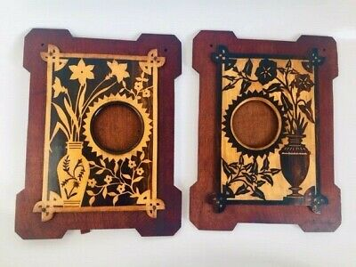 Large Antique Pair Arts & Crafts Hand-Crafted Wooden Marquetry Picture Frames