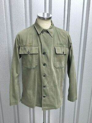 OD HBT Fatigue Jacket WW2 HBT Shirt Tag 36R Fit 38 Named Good Stencil WW2