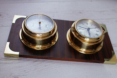 VIKING Vintage Mariner CLOCK and BAROMETER  with Board