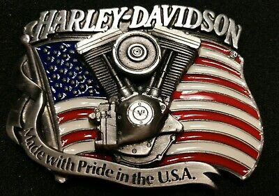 Rare Harley-Davidson V2 Engine With American Flag Vintage 1991 Baron Belt Buckle