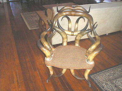 Original Antique Wenzel Friedrich American Rustic  Steer Horn Arm Chair