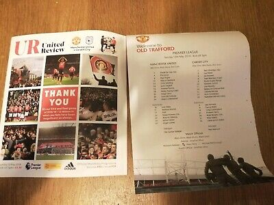 Manchester United V Cardiff City 12th May 2019 programme And Official Team Sheet