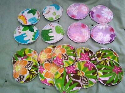 Handmade flannel cotton breast pads nursing pads set of 14 reusable floral dino