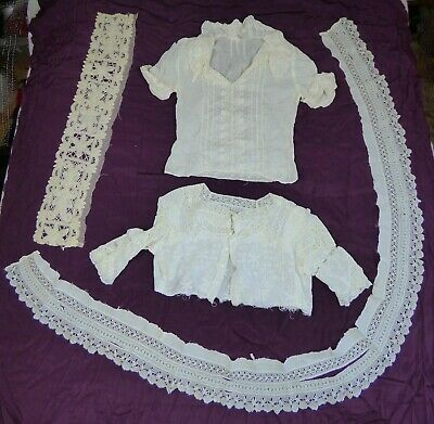 4 Pieces Antique Needle Work Lace: Pieces of Blouse Tops, Hem of Skirt