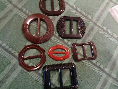 Great Vintage Lot of 7 Ladies Belt Buckle Slides -Plastic Bakelite-all very nice