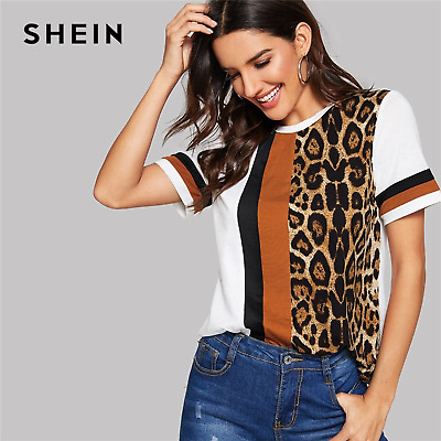 18aadf68175c9 SHEIN White Color Block Cut & Sew Leopard Panel Top Short Sleeve Casual  T-shirts