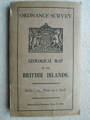 Ordnance Survey Geological Map British Isles 1912 Revised 1924 Vintage And Rare