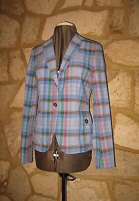 9f6714fad7 New GANT Ladies Size 12 Cotton Blue Check Casual Summer Blazer Jacket