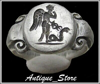 ** MERCURY and SNAKE ** Ancient Silver Legionary Roman Ring ** AMAZING **