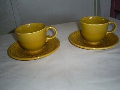 Homer Laughlin Casualstone Coventry, 2 teacups & 2 saucers, gold Vintage fiesta