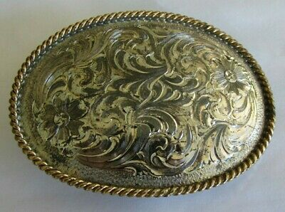 Montana Silversmiths Co. Sterling Silver Plate & Engraved Western Belt Buckle