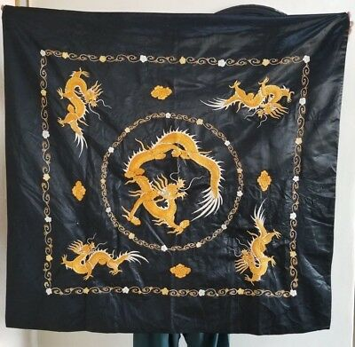Fine antique 19th century Chinese silk embroidered panel Golden Yellow Dragons