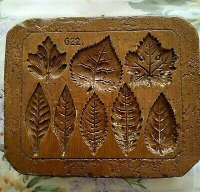 RARE Springerle Speculaas Butter Cookie Paper Print Stamp Press Mold - 8 LEAVES