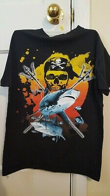 d86264fd GUY HARVEY YOUTH Pirate Sharks T-Shirt Size XL Black Short Sleeve ...