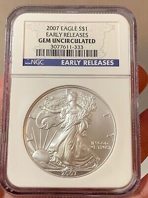 NGC 2007 EARLY RELEASE AMERICAN EAGLE Dollar GEM UNCIRCULATED Silver MS $1 Coin
