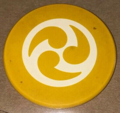 Vintage Antique Yellow Yin Yang Clay Poker Chip