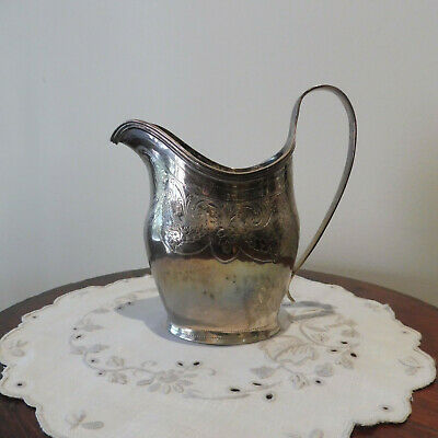 Antique George III HM St Silver Helmet-Shaped Monogrammed Cream Jug  London 1804