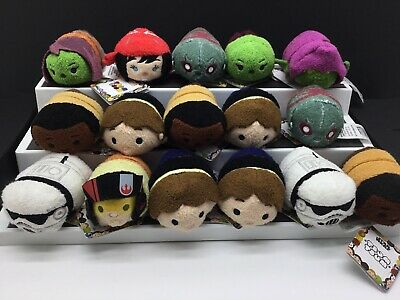 NWT Lot Of 16 Star Wars And Marvel Disney Stuffed Tsum Tsum Mixed Plush Set