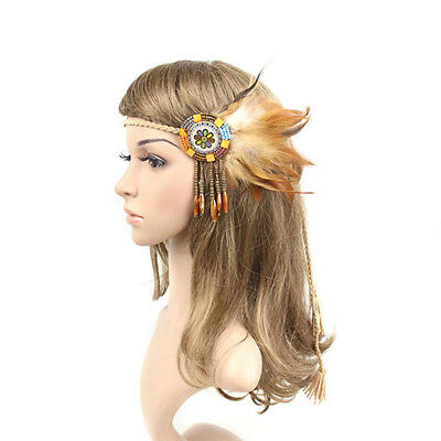 Handmade Retro Indian Style Feather Head Band With Beaded Tassels(light cof O7Z3