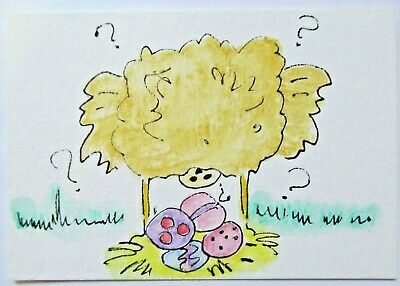 ACEO Original Watercolor Chicken Lays Easter Eggs Whats Up by Artist MiloLee